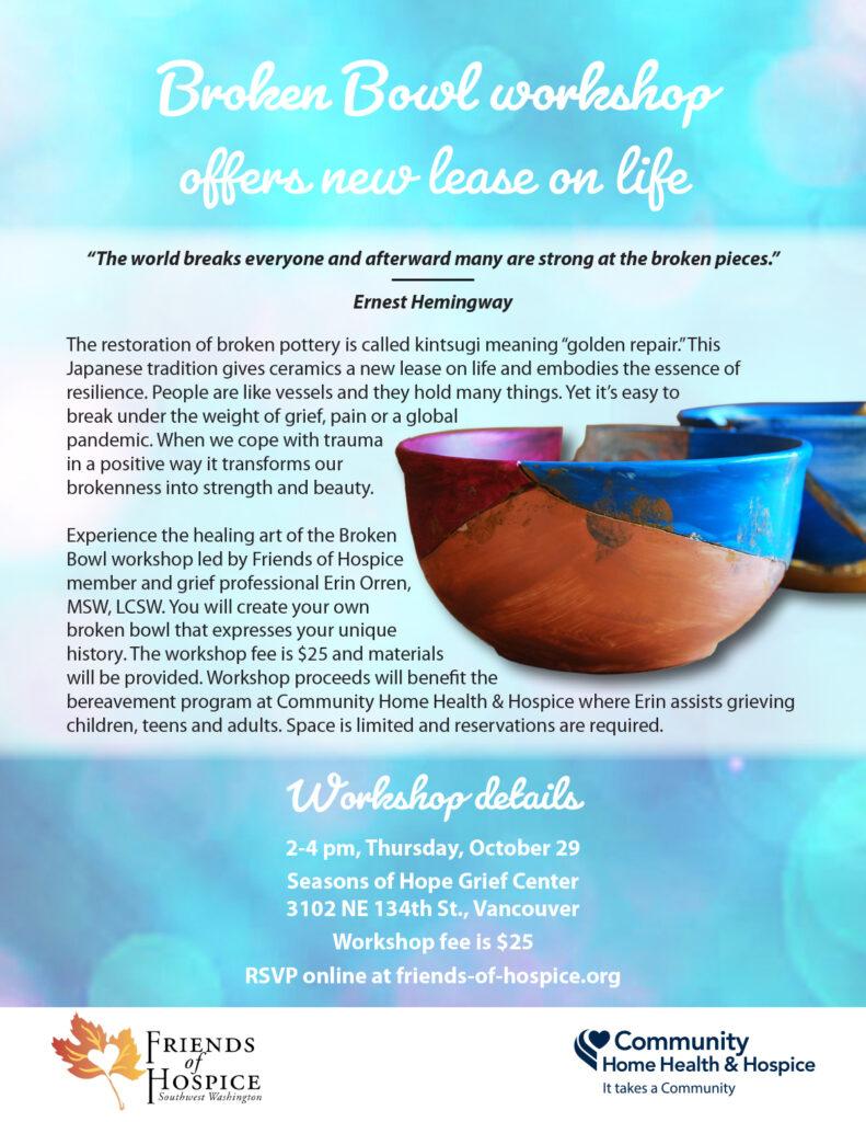 Broken Bowl workshop flyer